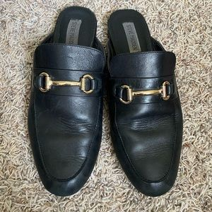 STEVE MADDEN Kandi Black Leather Mules